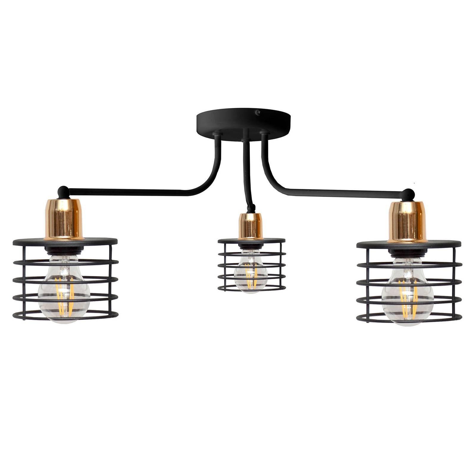 Taklampe Edison, 3 lyskilde