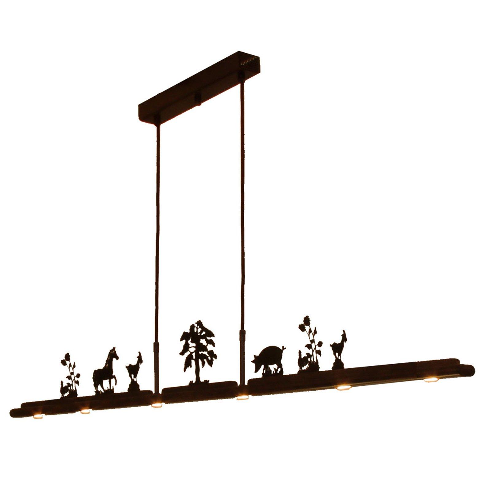 Menzel Anteo LED-hengelampe, 7 gårdsmotiver