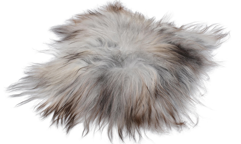 Molly natural grey PW - langhåret firkantet stolpute i saueskinn øko