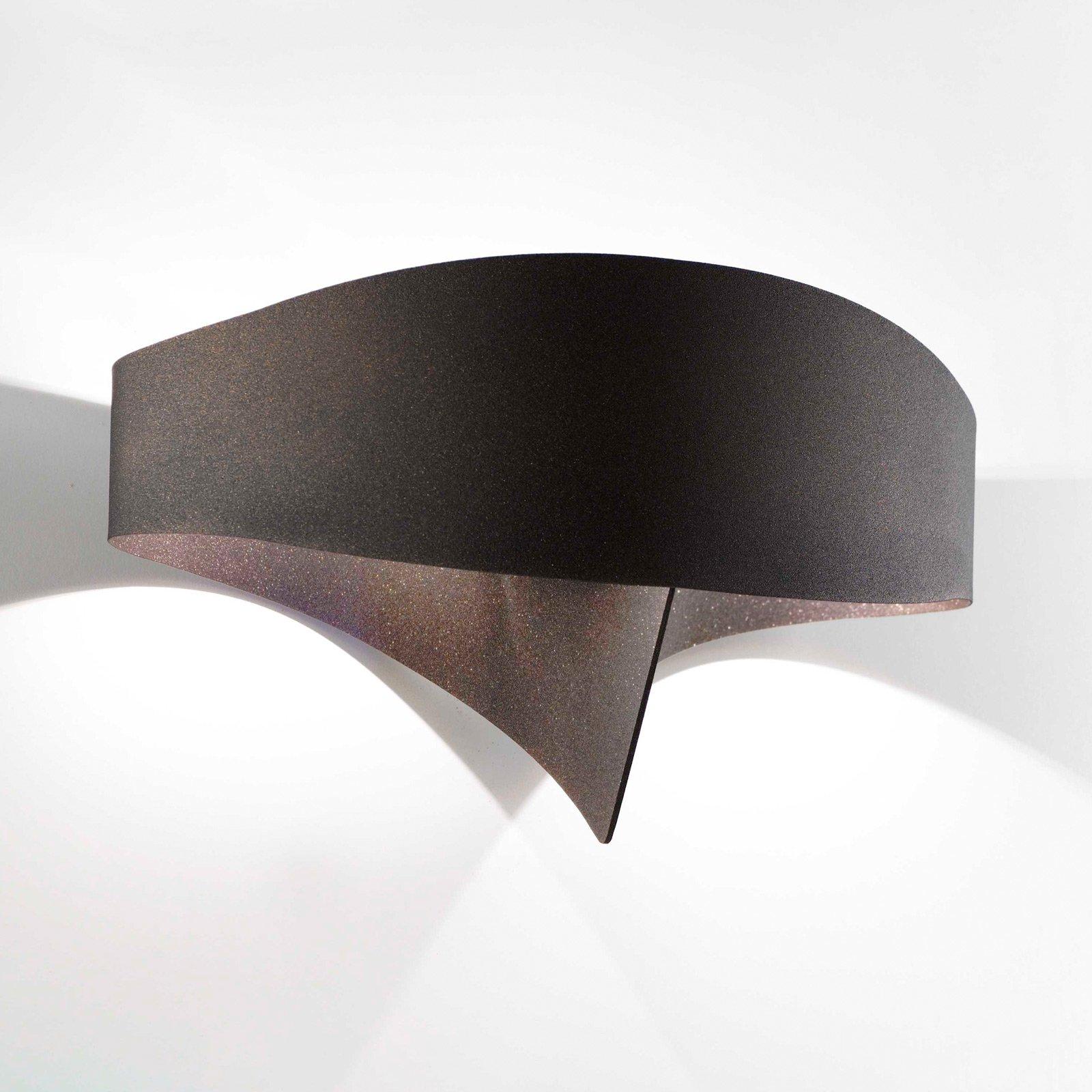 LED-vegglampe Scudo av stål, bronse
