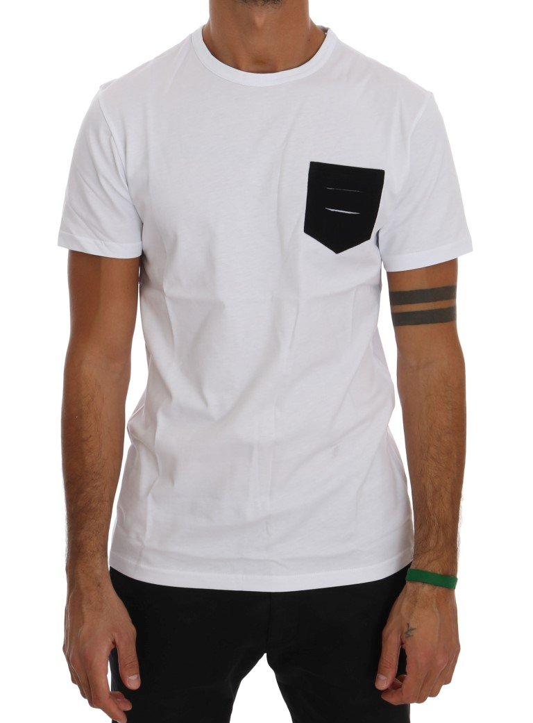 Daniele Alessandrini Men's Cotton Crewneck T-Shirt White TSH1298 - M