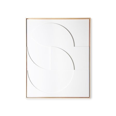Framed Relief Art Panel White D Large