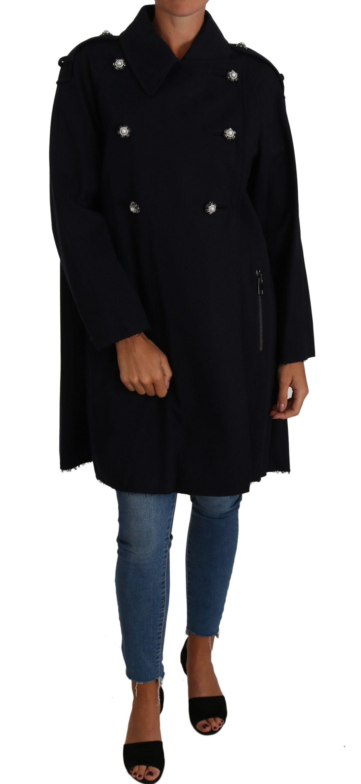 Dolce & Gabbana Women's Crystal Buttons Trench A-Line Coat Blue JKT2226 - IT42|M