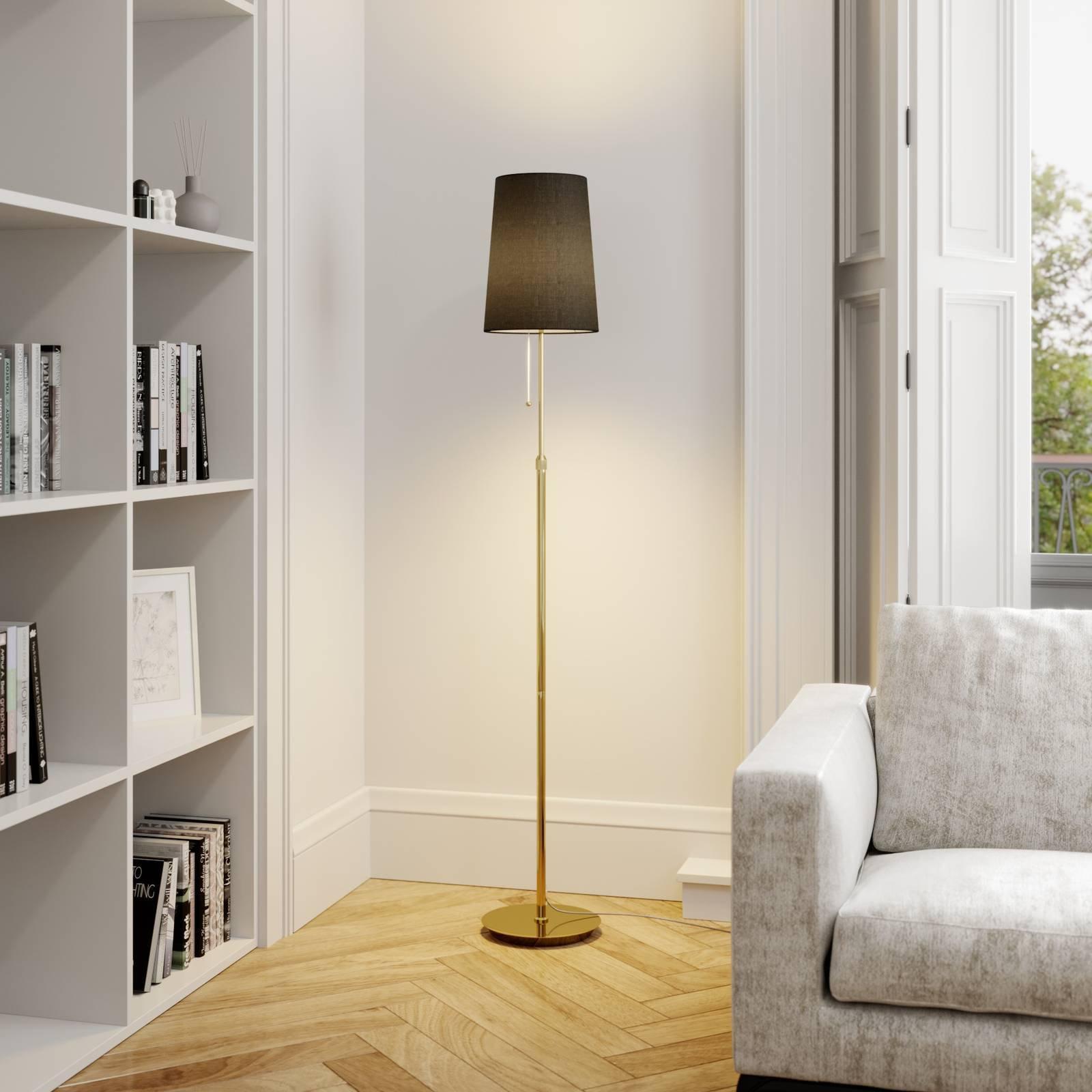 Lucande Pordis gulvlampe, 164 cm, messing-svart