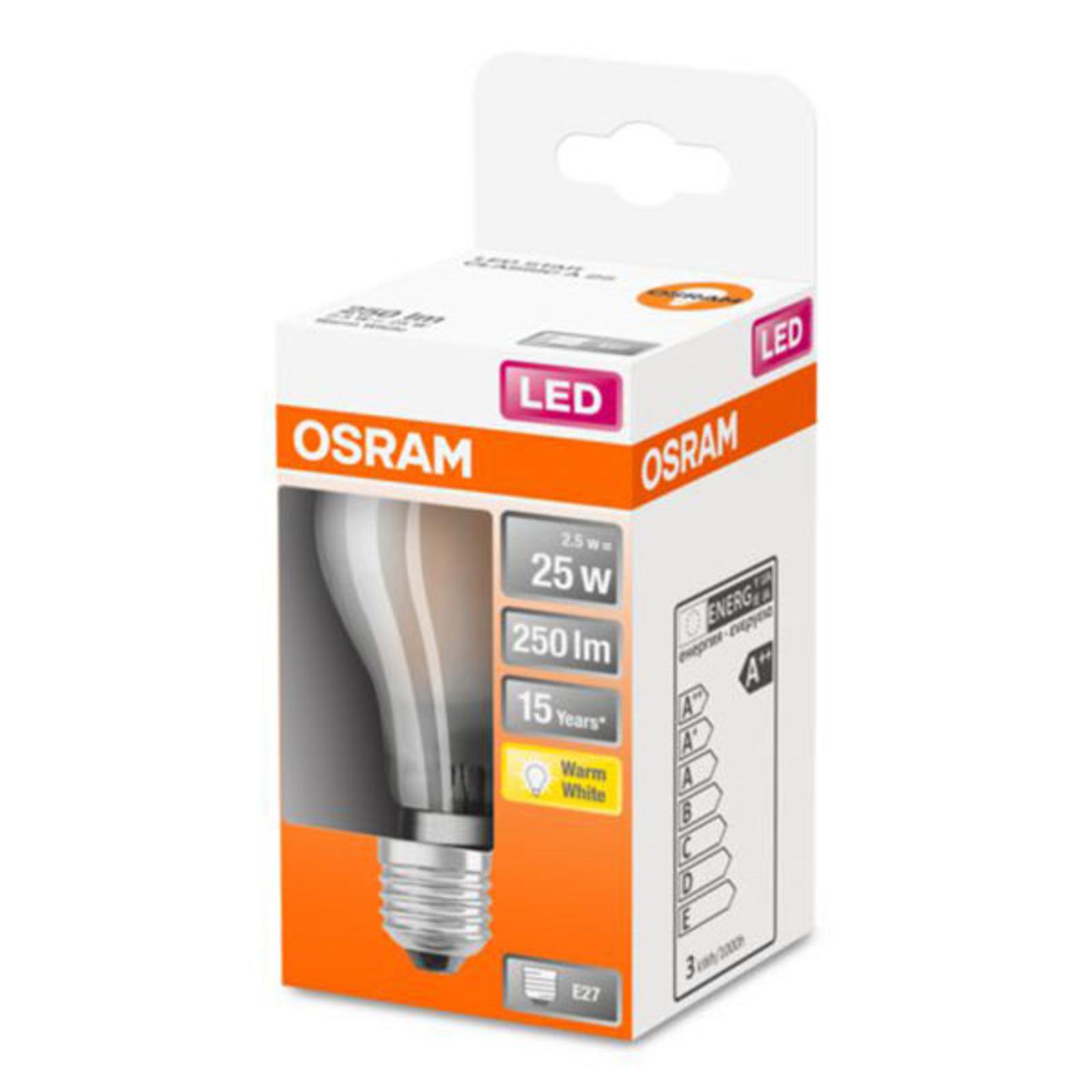 OSRAM ClassicA -LED-lamppu E27 2,5W 2 700 K matta