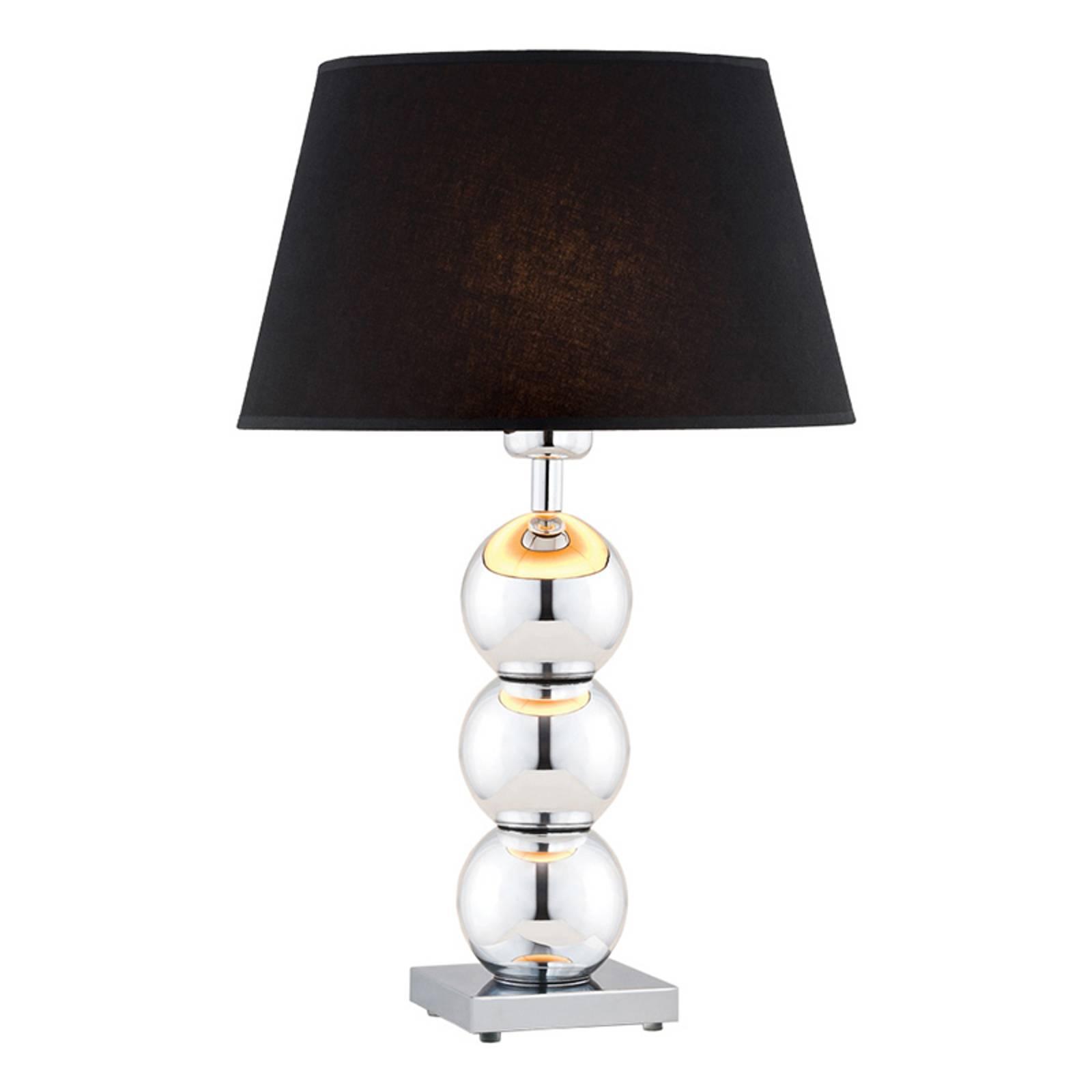Pöytälamppu Fulda, musta varjostin, kromattu jalka