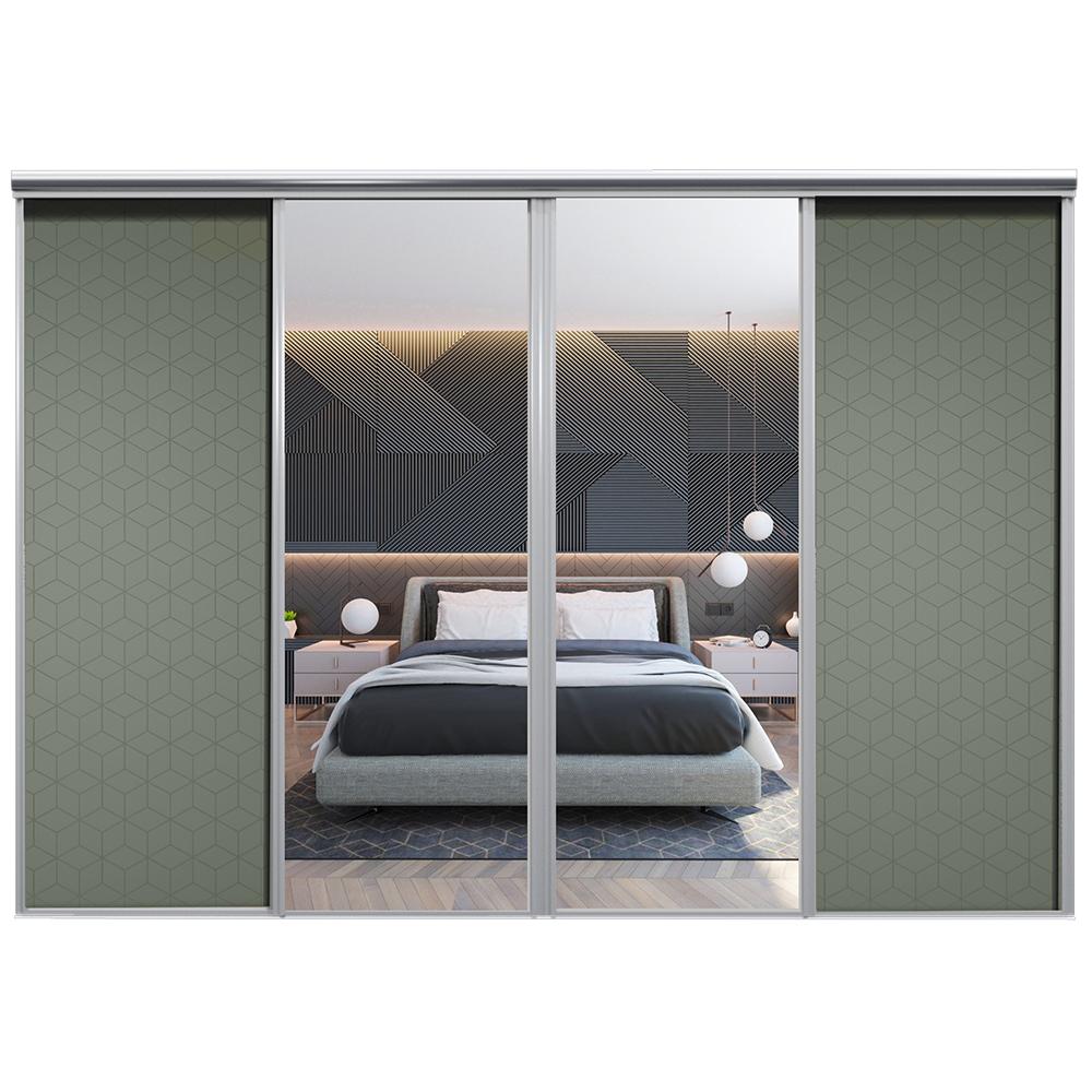 Mix Skyvedør Cube Mosegrønn Sølvspeil 3400 mm 4 dører