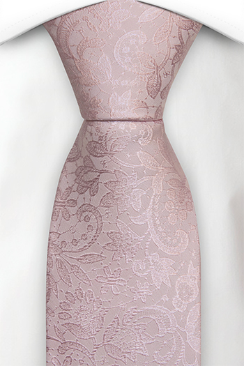 Silke Slips, Ton-i-ton broderte blomster i pudderrosa, Notch VIGSEL Powder pink