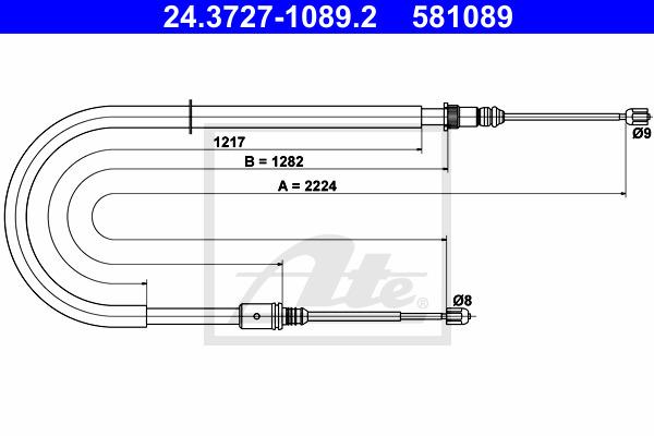 Käsijarruvaijeri ATE 24.3727-1089.2