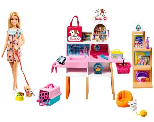 Barbie Lekesett Med Dukke Dyrebutikk