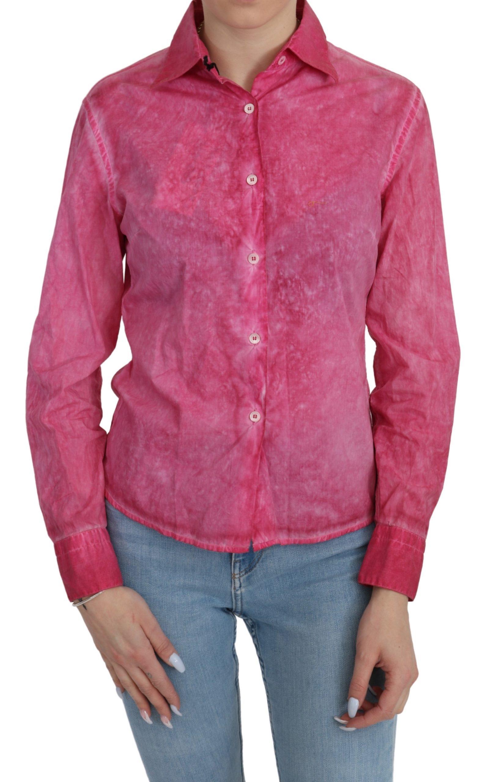 Ermanno Scervino Women's Collared LS Shirt Pink TSH4881 - IT42 M