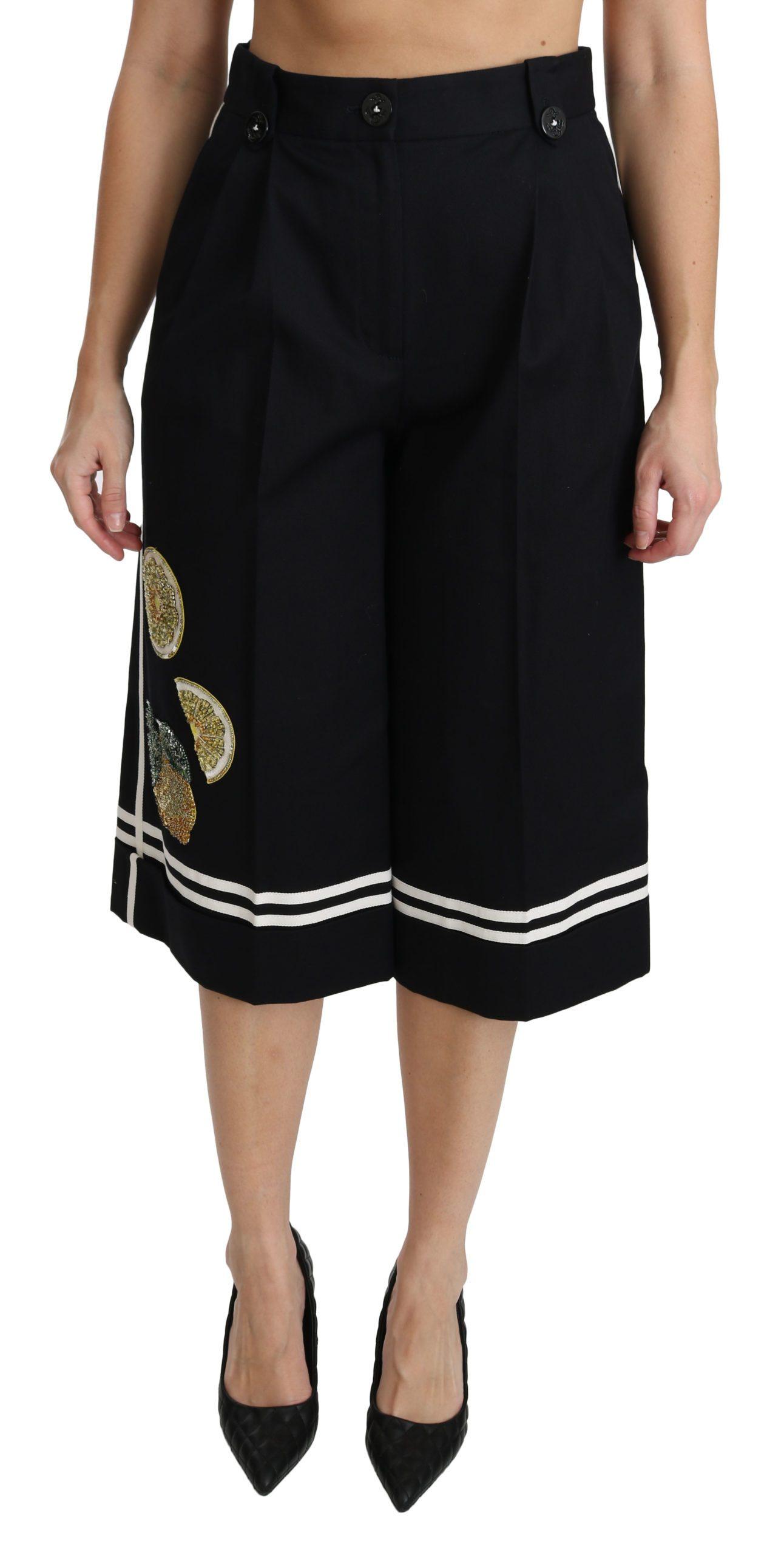 Black Lemon Embellished Palazzo Cropped Pants - IT40|S