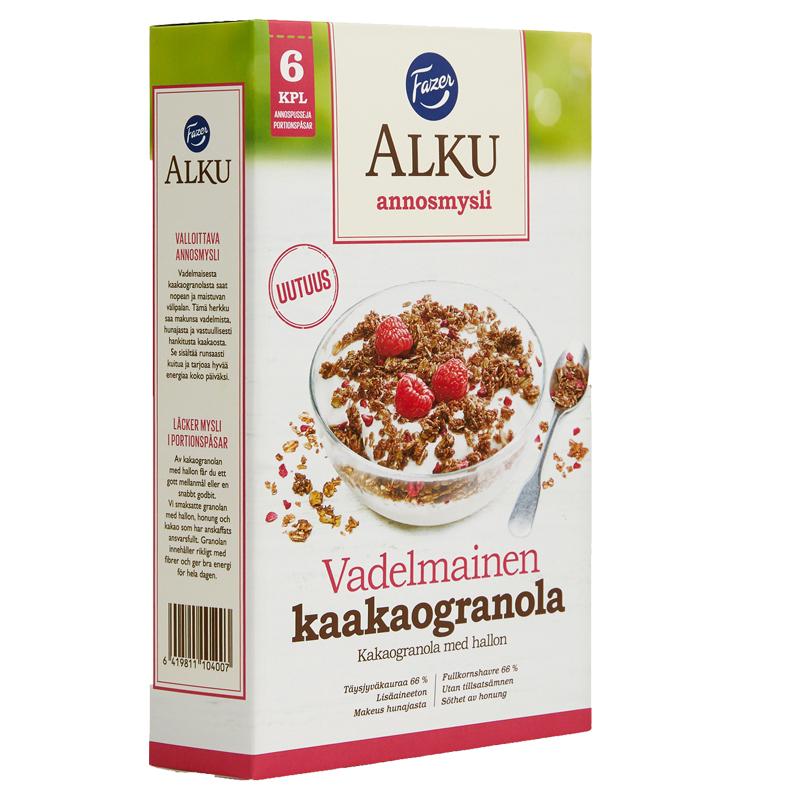 Vadelmainen Kaakaogranola Annosmysli 6kpl - 32% alennus