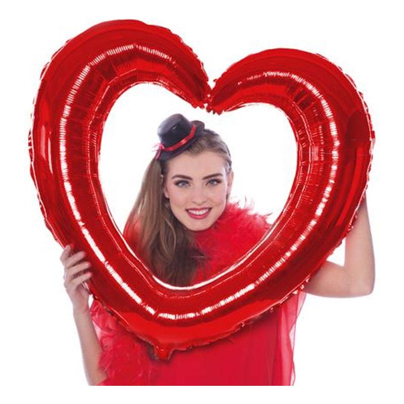 Folieballong Selfieram Hjärta Rött