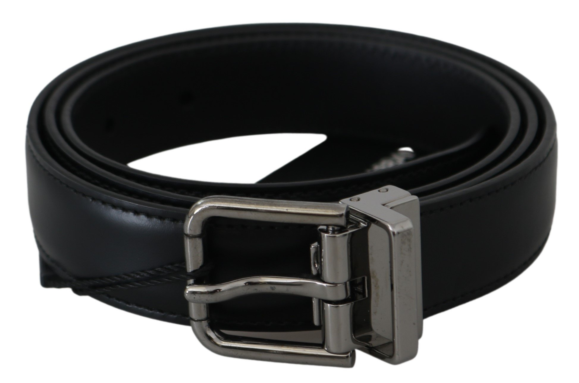 Black Solid Leather Gray Buckle Belt - 95 cm / 38 Inches