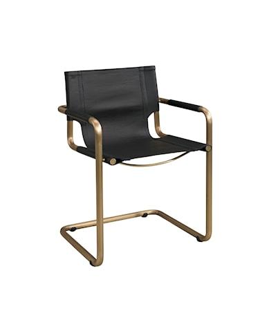 GIANNI Armchair Copper/matt black taupe leather