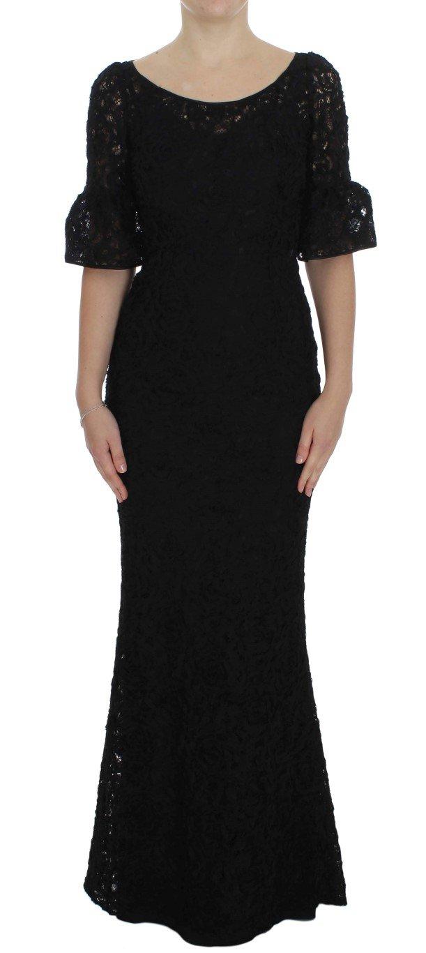 Dolce & Gabbana Women's Floral Lace Long Dress Black NOC10084 - IT40|S