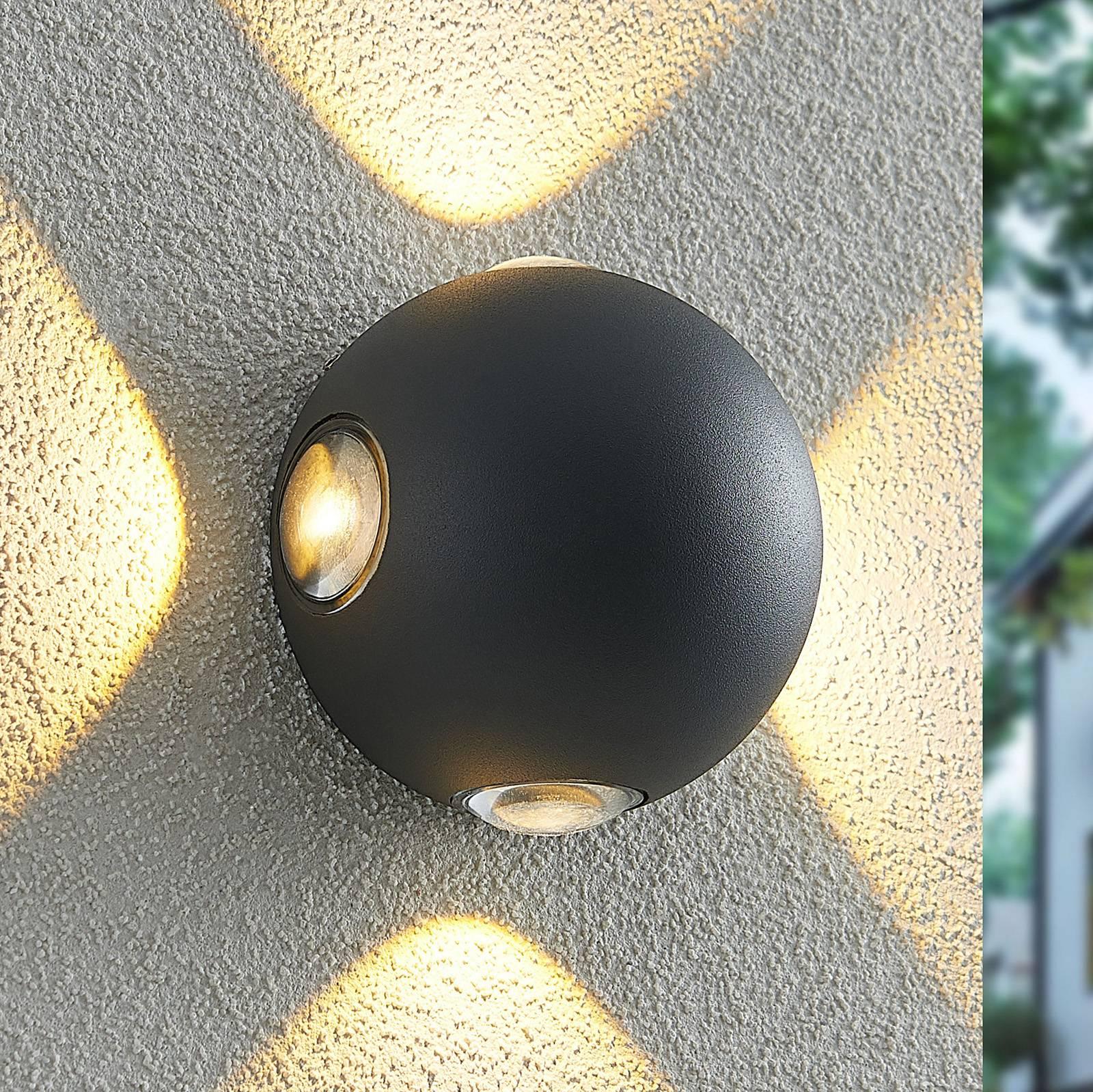 Lindby Esmani -LED-seinävalo pyöreä 4-lamp. harmaa