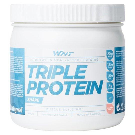 """Proteinpulver """"Triple Protein"""" Jordgubb 400g - 45% rabatt"""