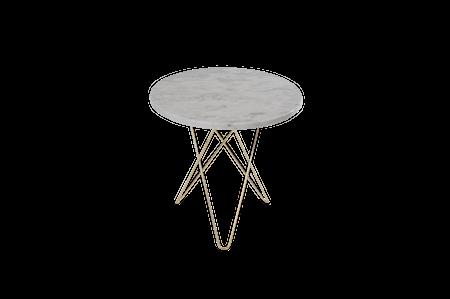 Tall Mini O Table Vit Marmor med Mässingram Ø50