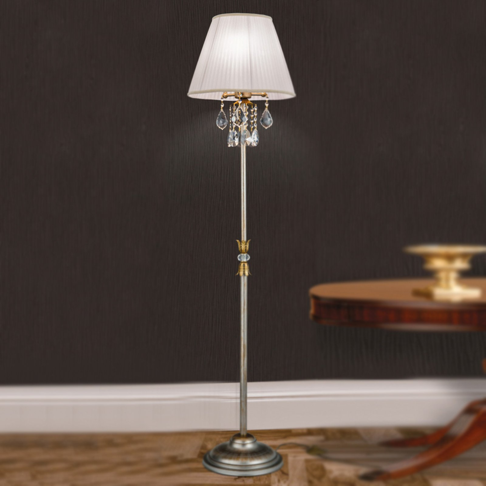 Eksklusiv stoffstålampe Miramare med krystall