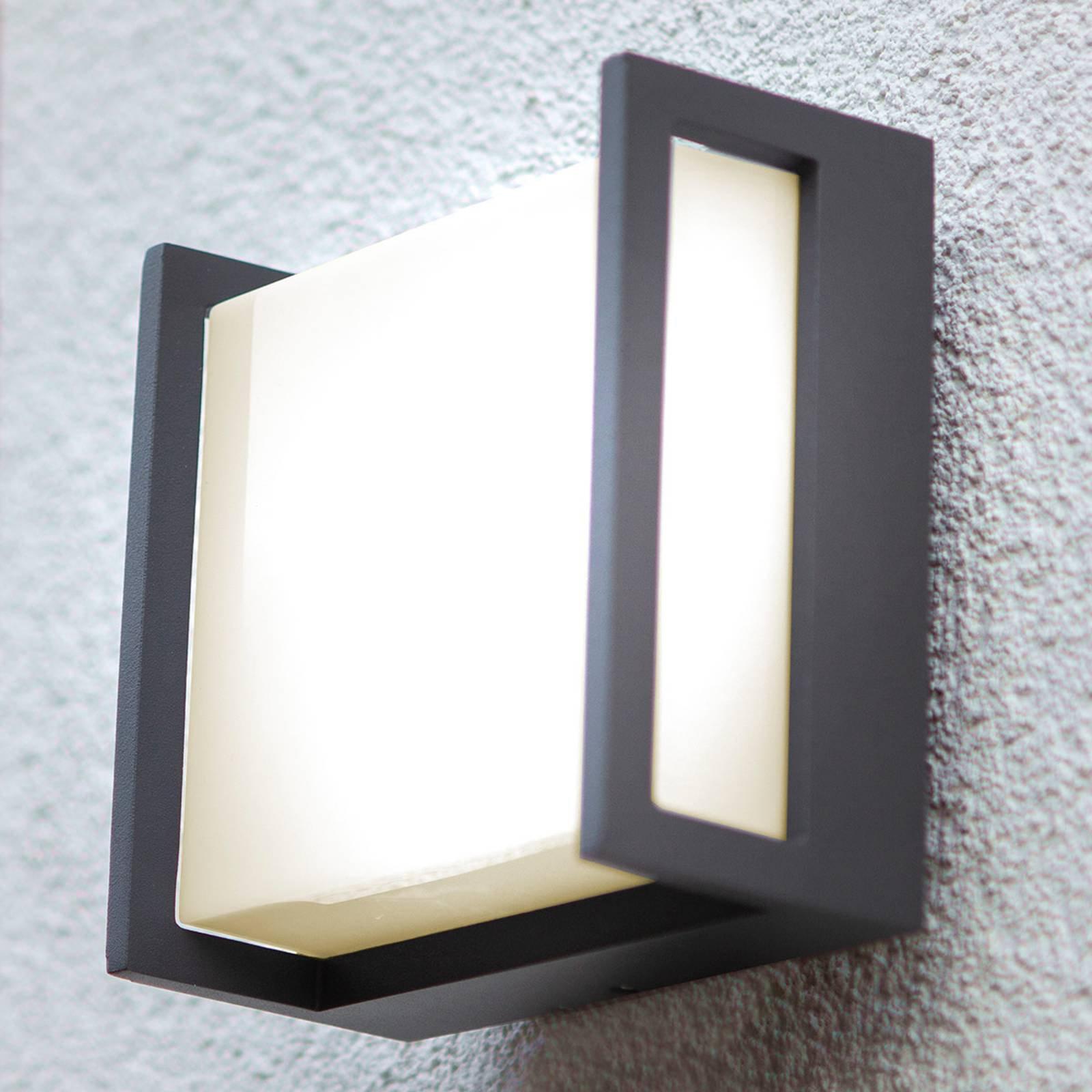 Utendørs LED-vegglampe Qubo, 14 cm x 14 cm