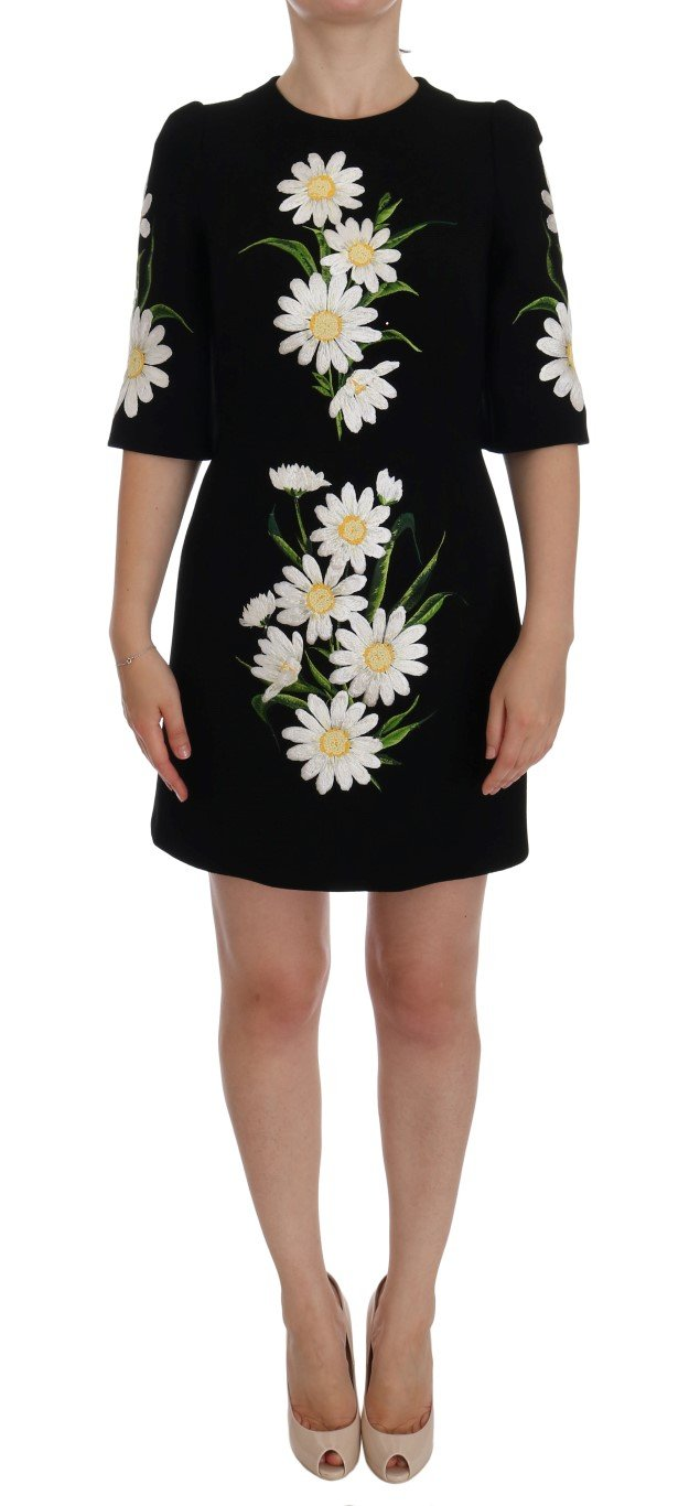 Dolce & Gabbana Women's Chamomile Print Wool Stretch Dress Black DR1041 - IT40 S