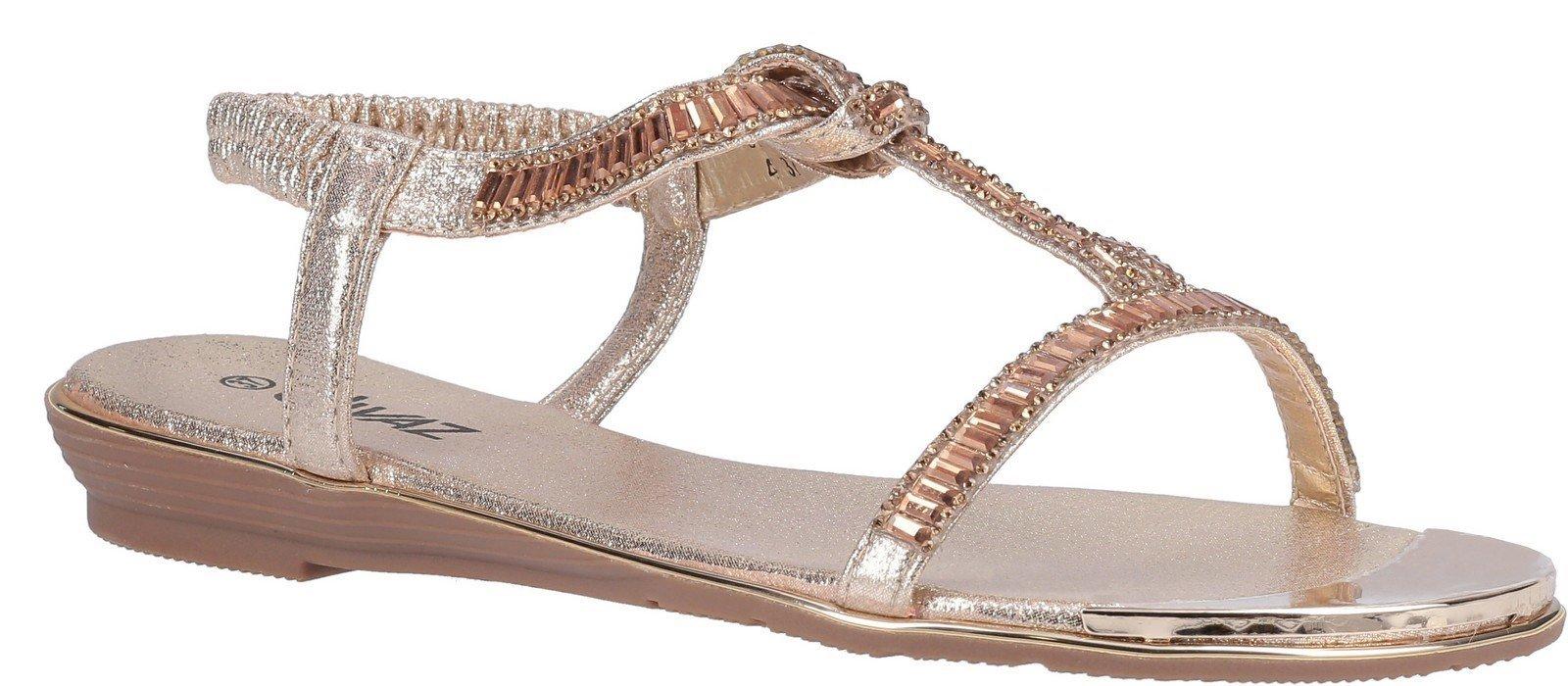 Divaz Women's Roxy Slip On Sandal Various Colours 30128 - Gold 3