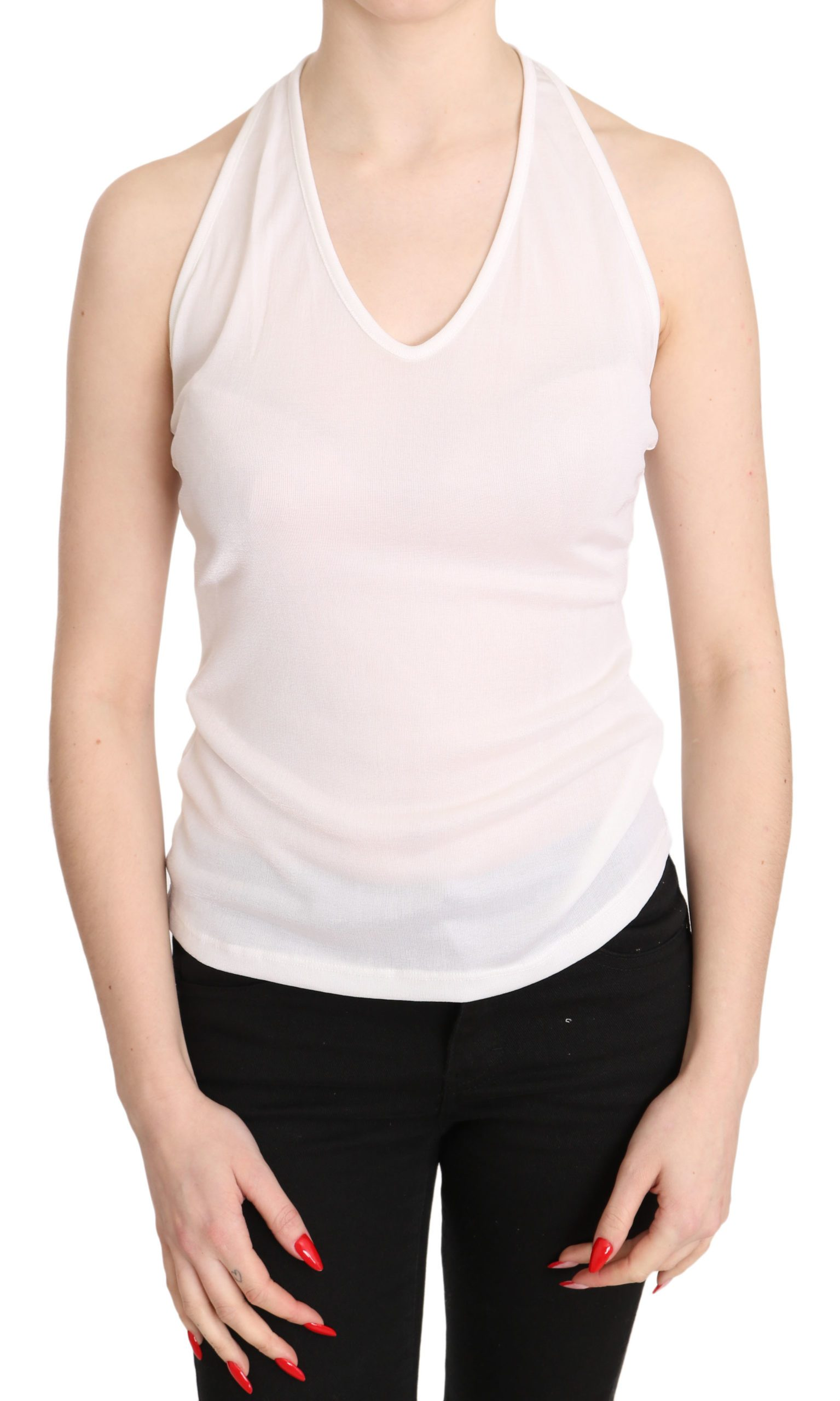 GF Ferre Women's Halter Cotton Sleeveless Casual Top White TSH3418 - IT38 XS