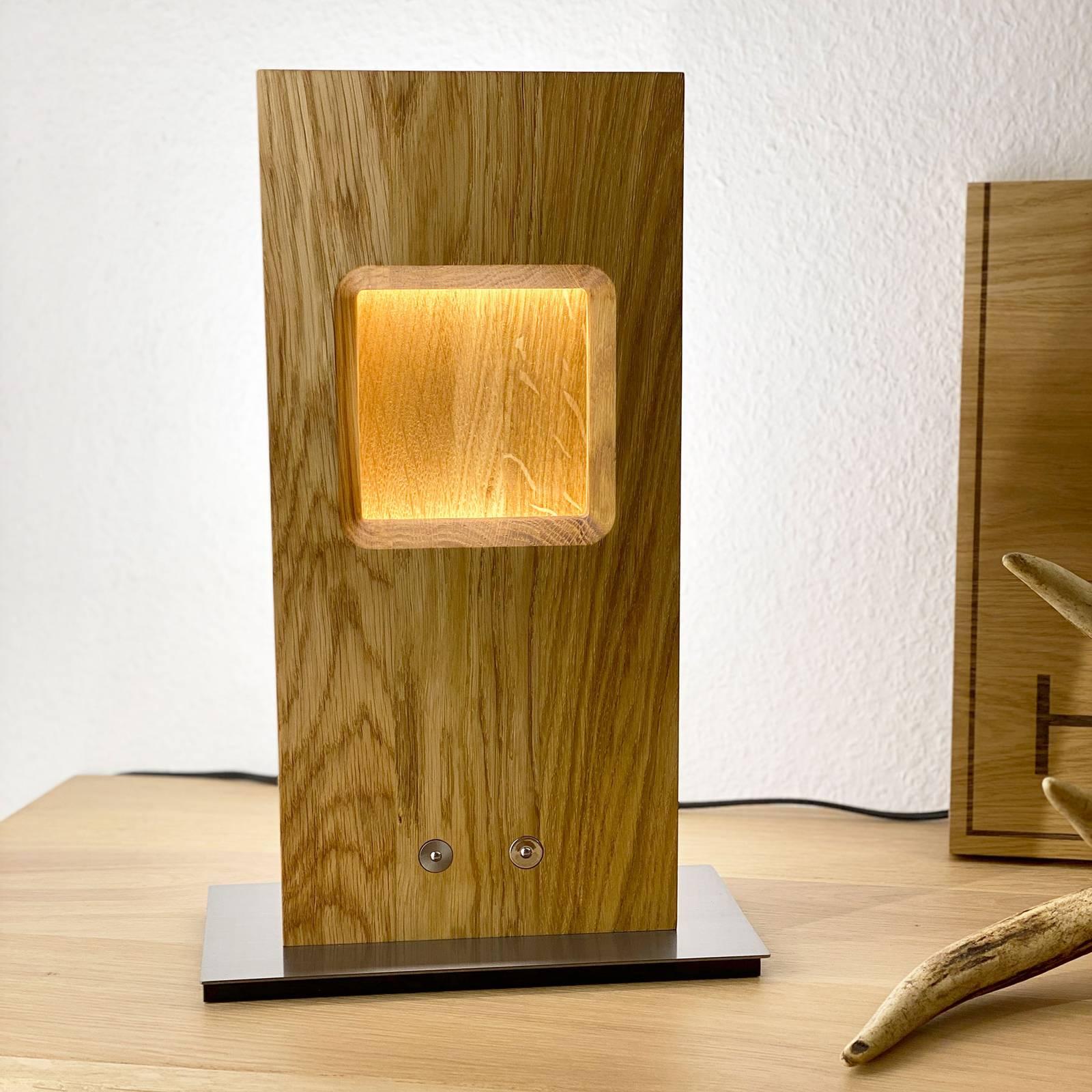HerzBlut Pan-LED-pöytälamppu, tammi, himmennettävä