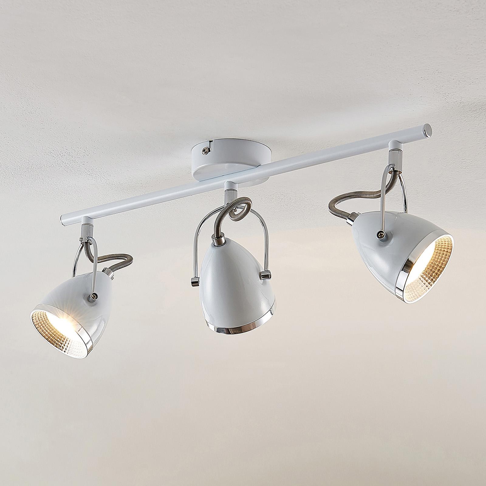 Lindby Jadon kattospotti valkoinen 3-lampp. pitkä