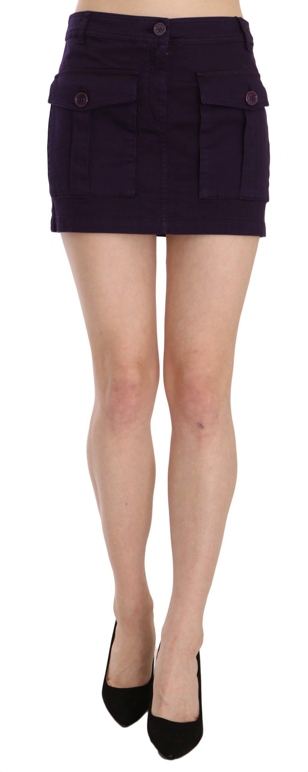 GF Ferre Women's High Waist Button Pocket A-line Mini Skirt Purple TSH3947 - IT40|S