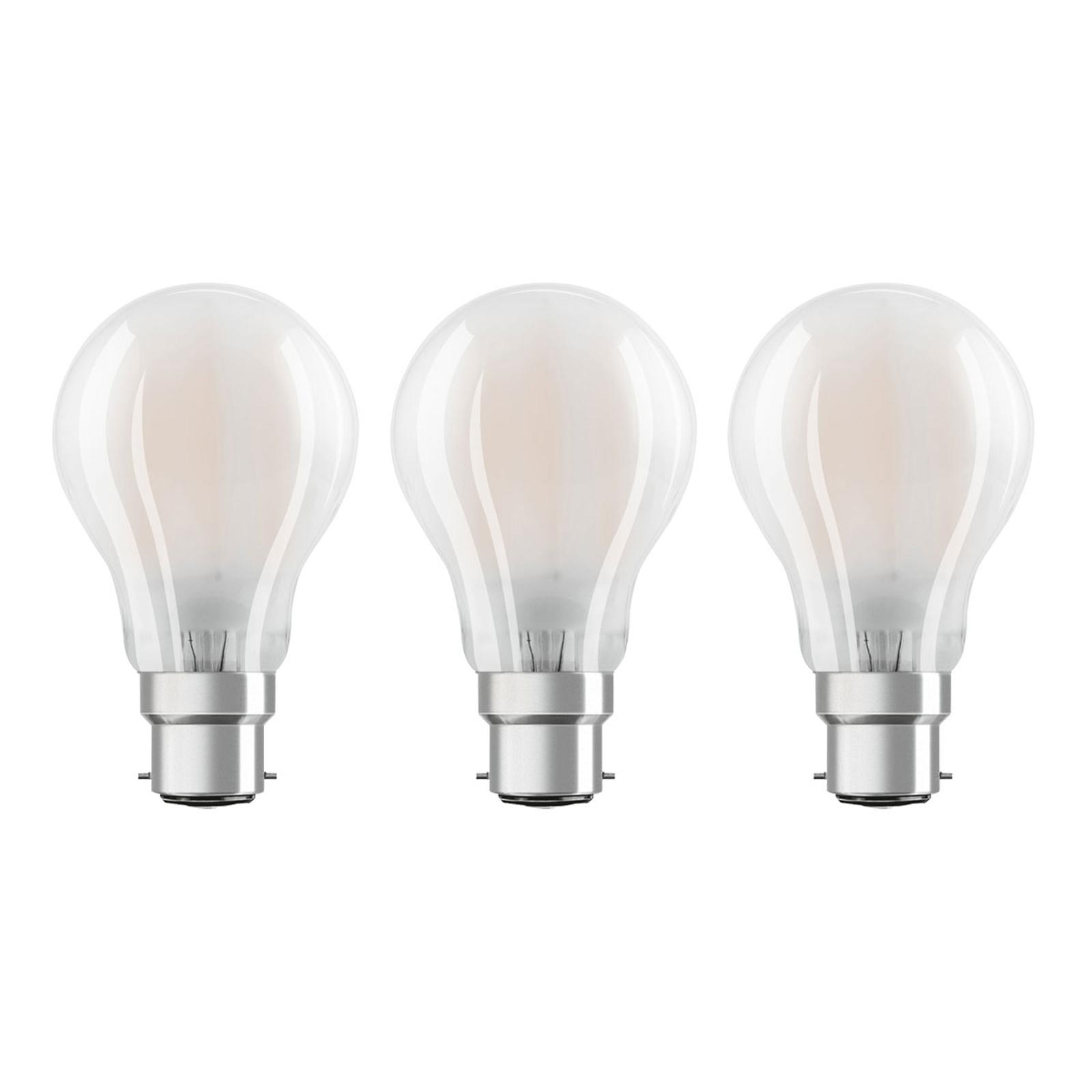 OSRAM-LED-lamppu B22d Classic 827 7W 3 kpl matta