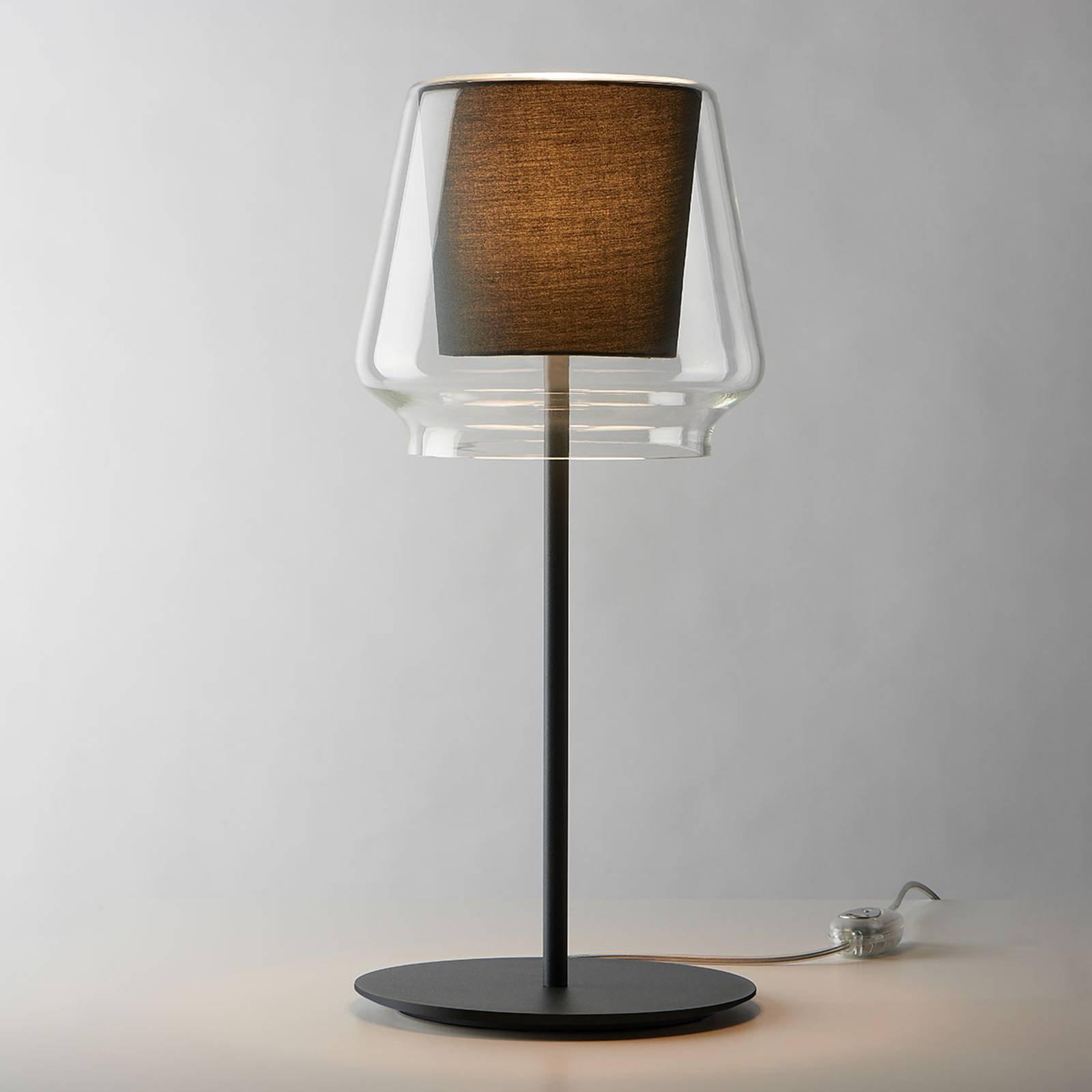 Casablanca Aleve - dimbar bordlampe, stoff antras.