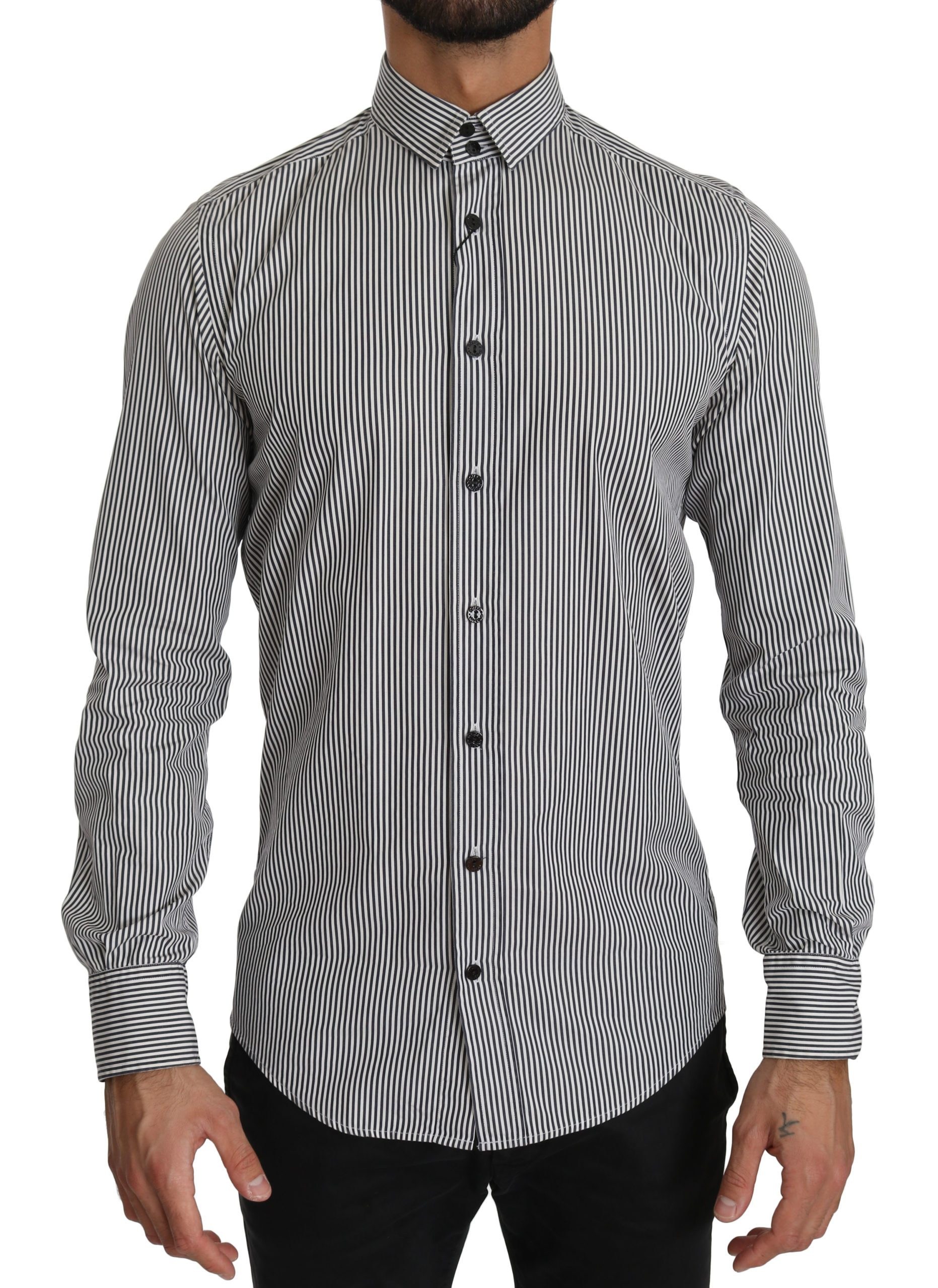 Dolce & Gabbana Men's Stripes Formal Shirt Black TSH4024 - IT39 | S