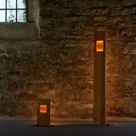HerzBlut Pan LED-gulvlampe oljet eik, dimbar