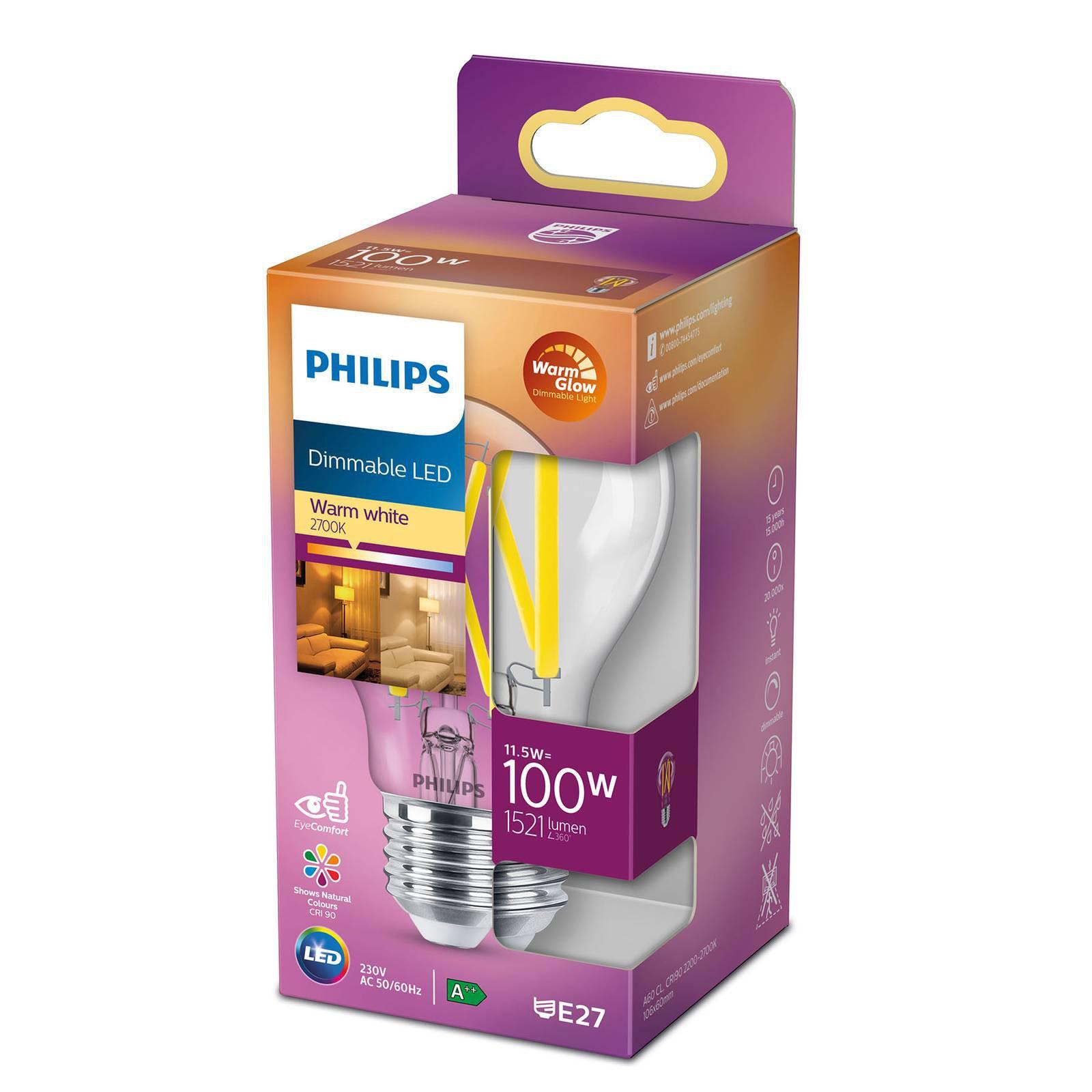 Philips LED Classic WarmGlow E27 A60 11,5 W klar