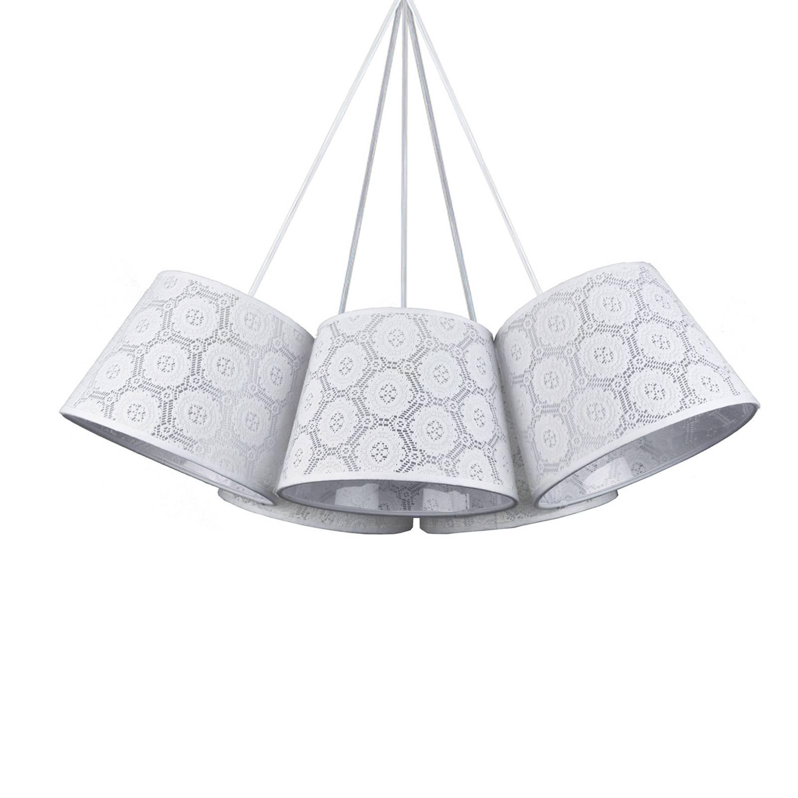 Riippuvalaisin Salsa, 5-lamp., valkoinen kuvioitu