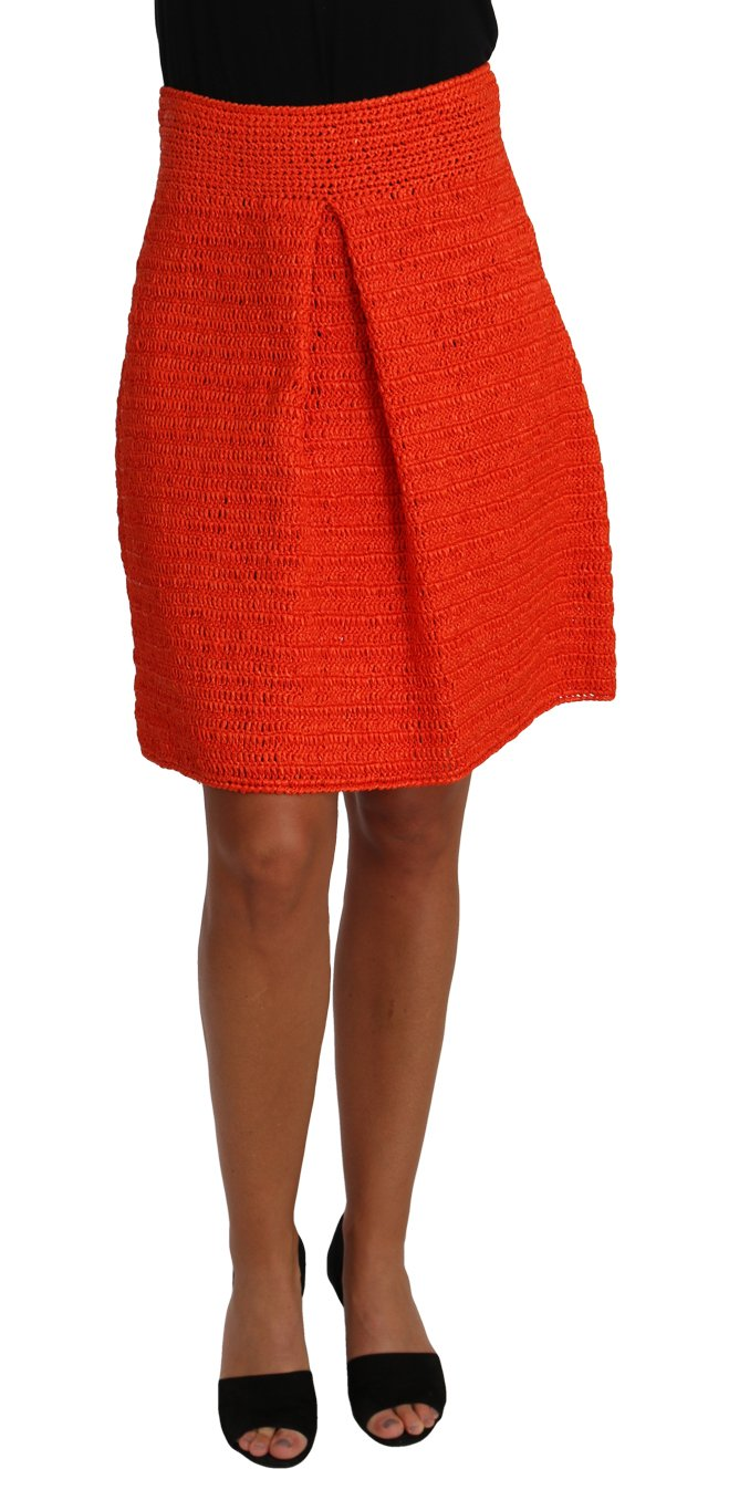 Dolce & Gabbana Women's Knitted Raffia A-Line Rayon Skirt Orange PAN61109 - IT40|S