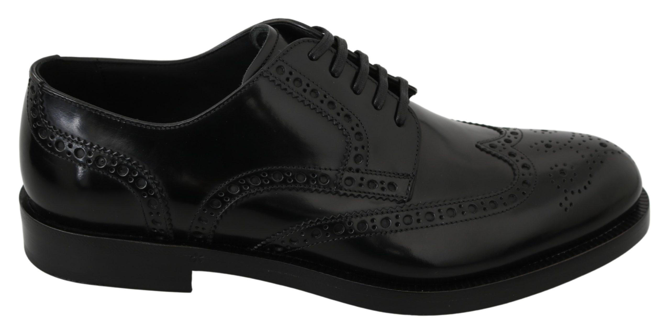 Dolce & Gabbana Men's Leather Formal Brogue Shoe Black MV2894 - EU40.5/US7.5