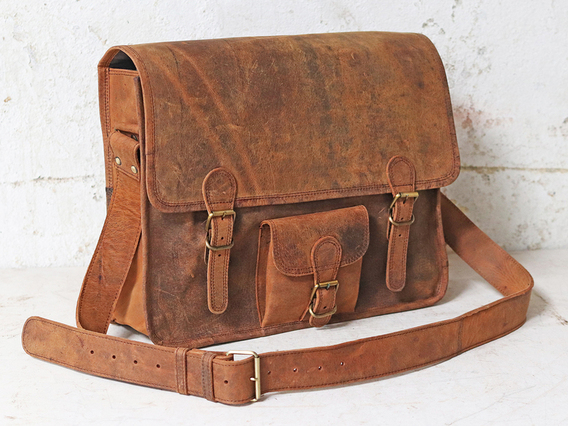 Large Vintage Leather Satchel 16 Inch with Pocket Brown 16 Inch