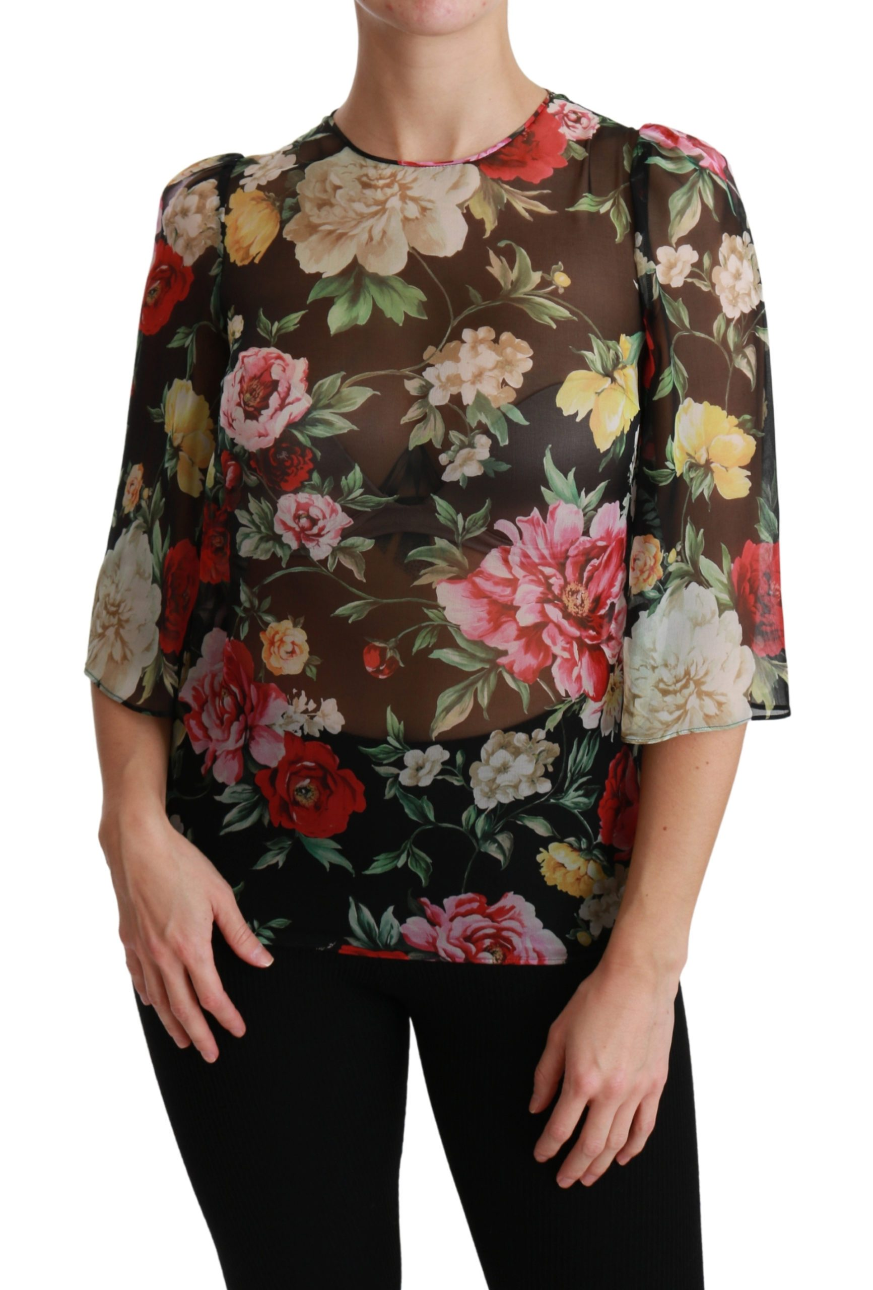 Dolce & Gabbana Women's Floral Sleeve Silk Top Black TSH4474 - IT36 | XS