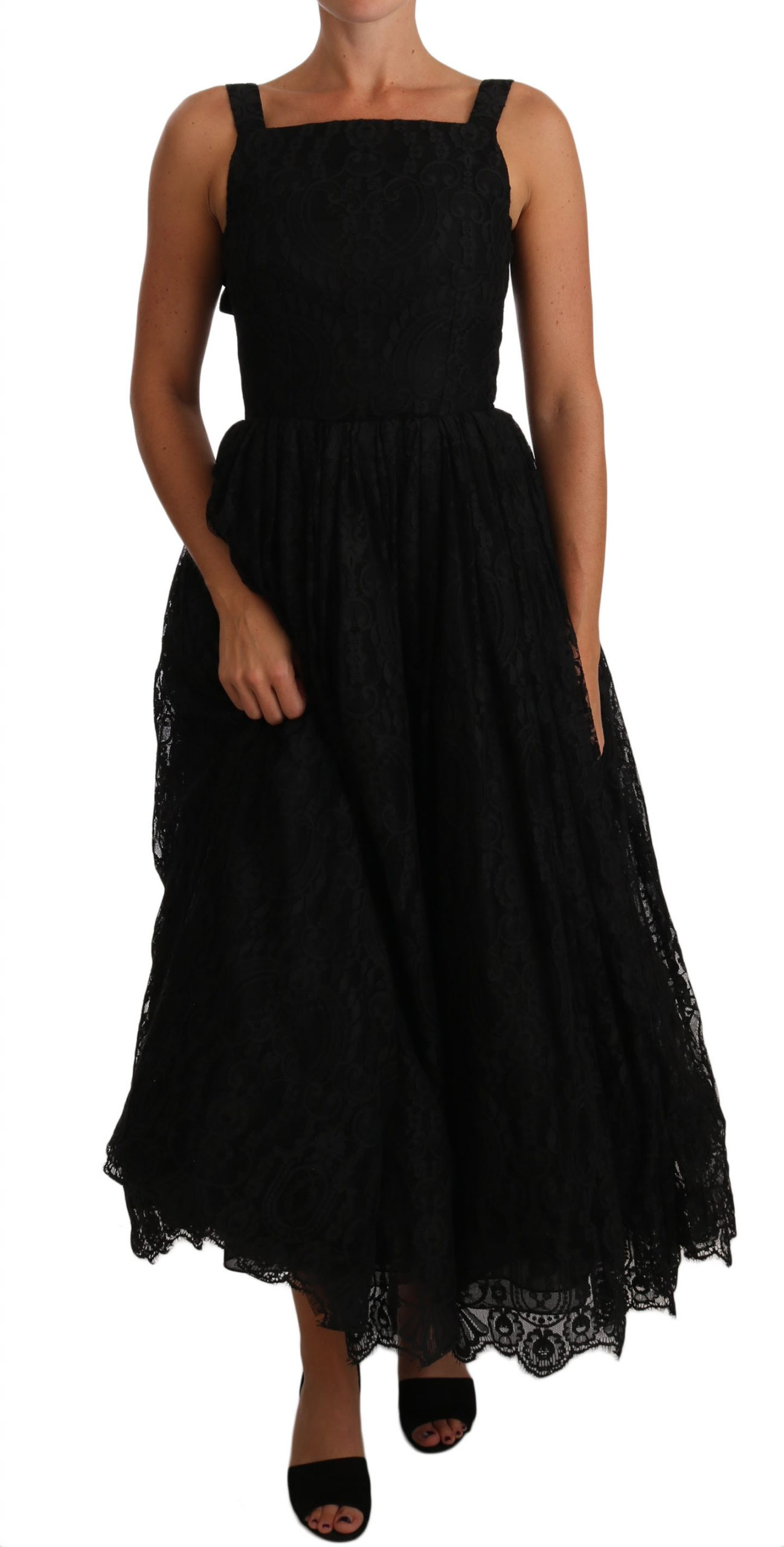 Dolce & Gabbana Women's Lace Floral Ruffle Bows Dress Black DR1429 - IT38|XS