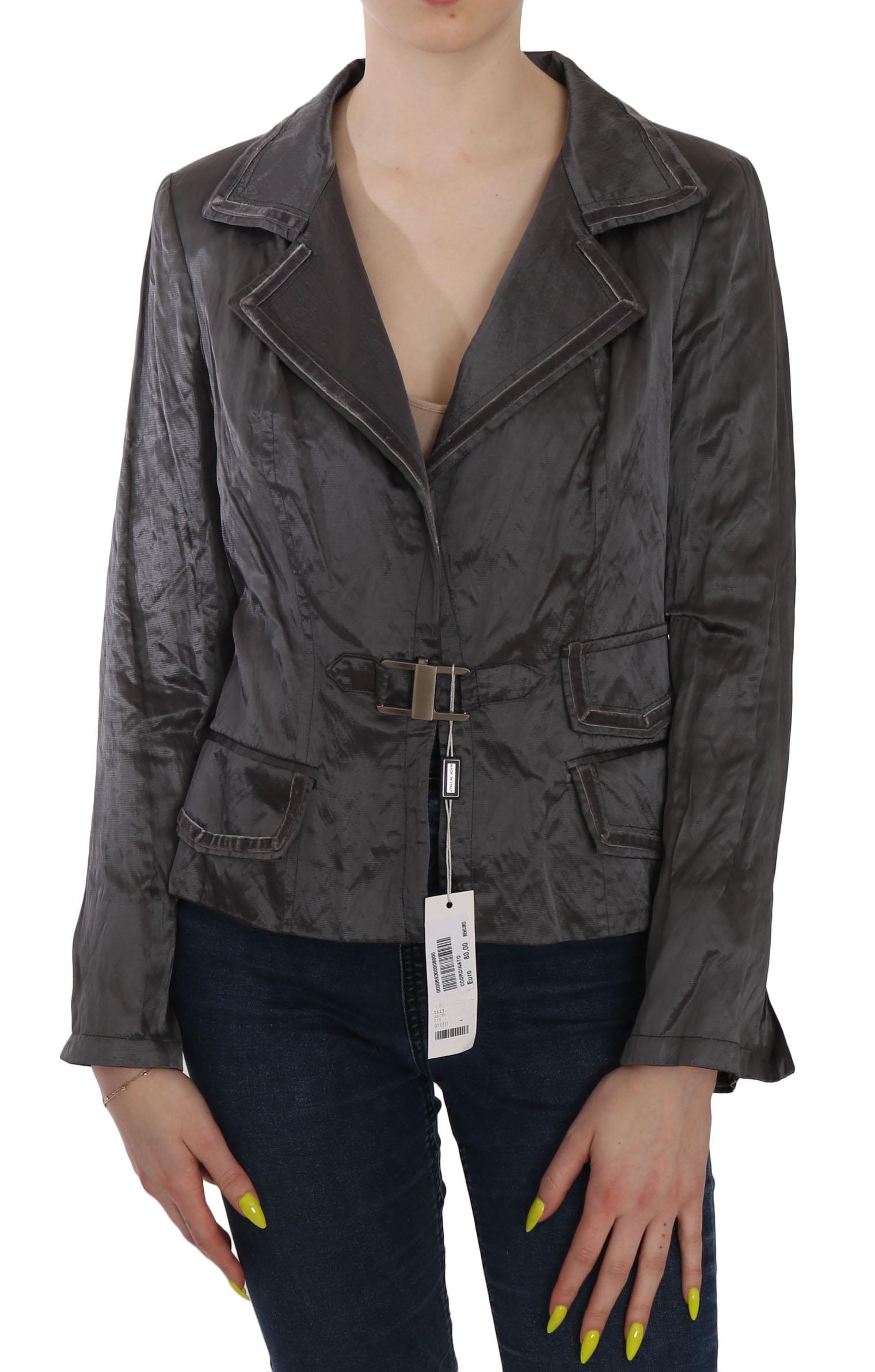 BENCIVENGA Women's Metal Lock Front Wool Blazer Gray TSH3753 - IT44|L