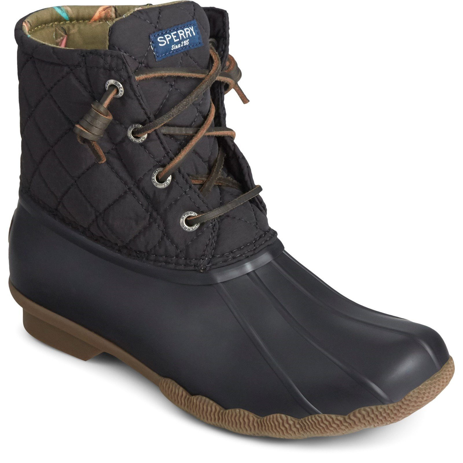 Sperry Women's Saltwater Quilted Duck Weather Boot Black 32439 - Black 5