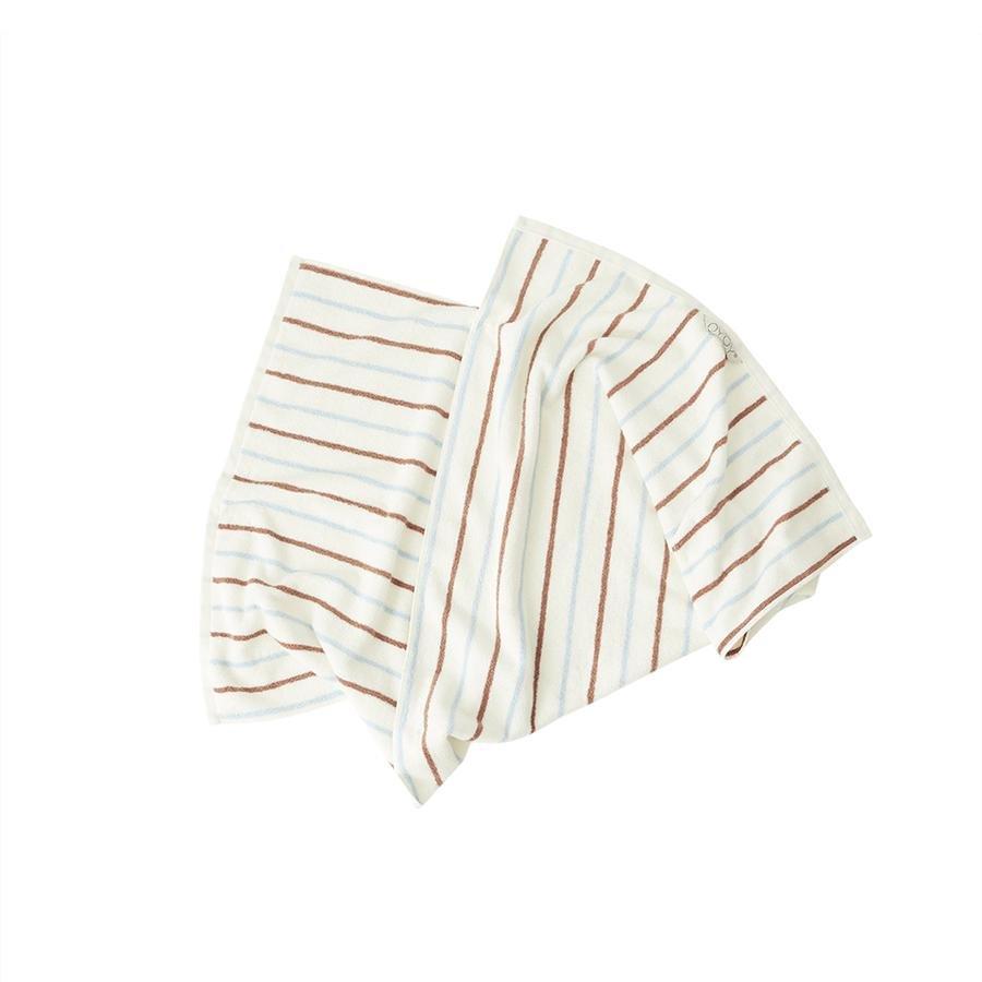 OYOY Living - Raita Organic Towel - 50x100 cm - Caramel / Ice Blue