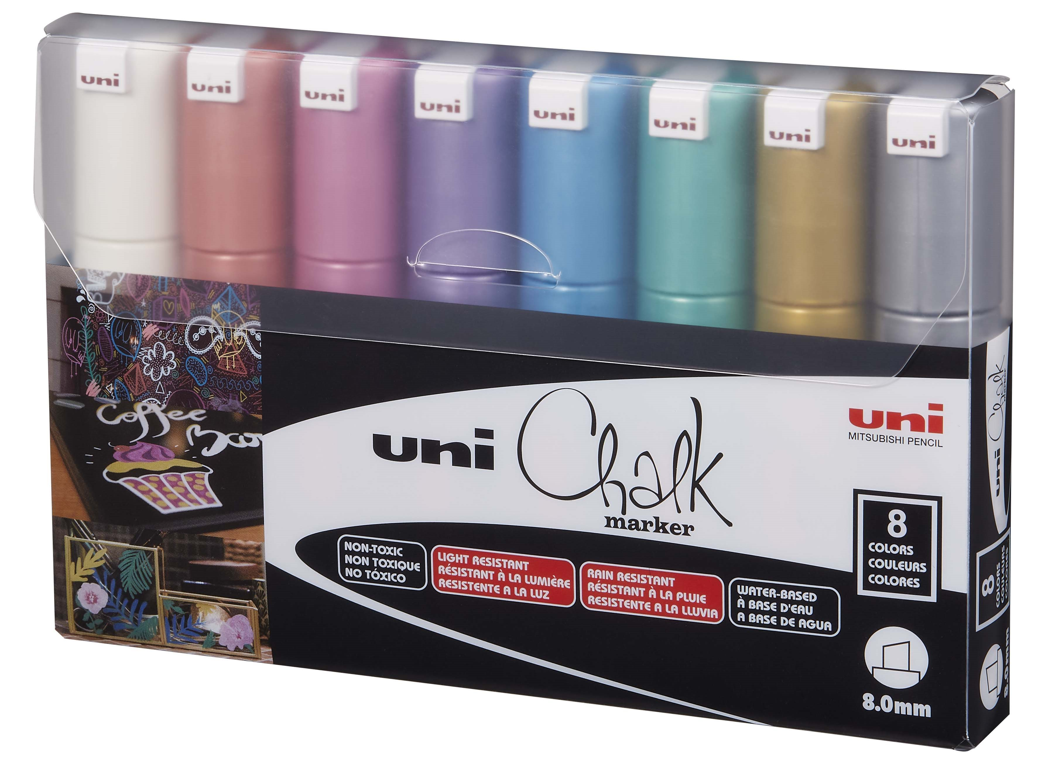 Uni - Chalkmarker 8M - Metallic colors, 8 pc