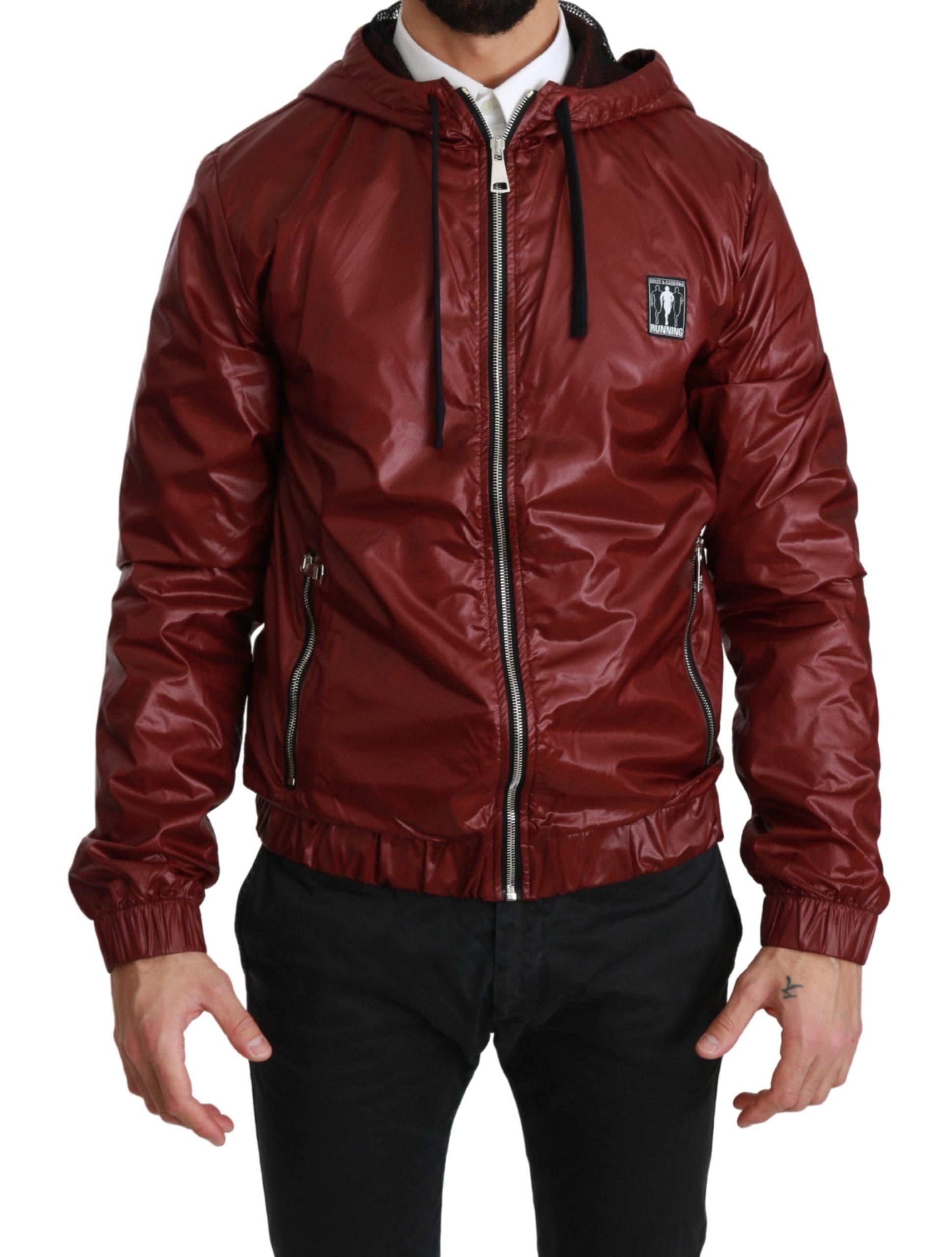 Dolce & Gabbana Men's DG Running Zipper Hooded Sweater Red JKT2549 - IT44 | XS