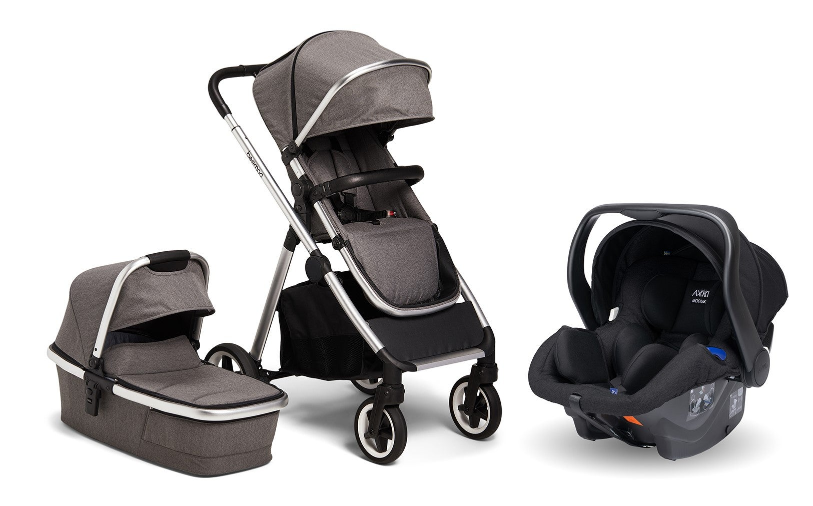 Beemoo Pro Duo Duovagn Inkl. Axkid Modukid Infant Babyskydd, Grey