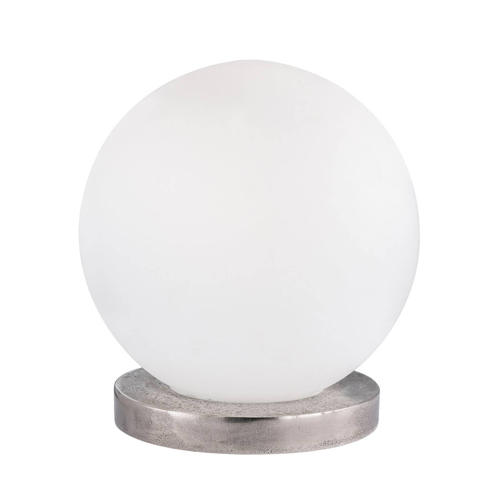 Bordlampe Antony, opal kule, fot nikkel, Ø20cm